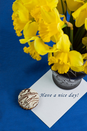 Bucket of narcissus flowers in the black vase and an envelope on blue background with marshmallow and text photo