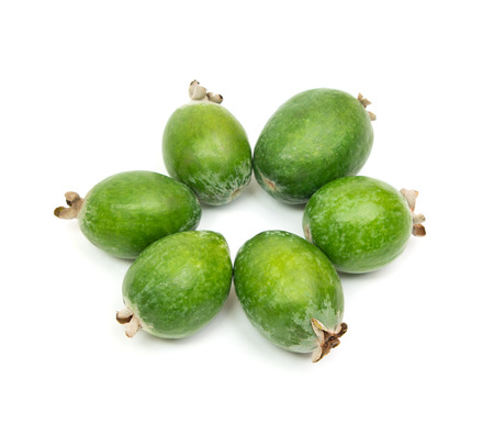 feijoa: Tropical fruit feijoa laid out in a circle (Acca sellowiana) isolated on white background