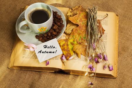 hojas secas: Etiqueta con las palabras hola otoño y la taza de café que miente en el libro con las hojas de arce amarillas y flores secas de siempre en el fondo de saco