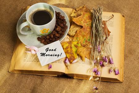 Tag Mit Worten Hallo Oktober Und Der Tasse Kaffee Mit