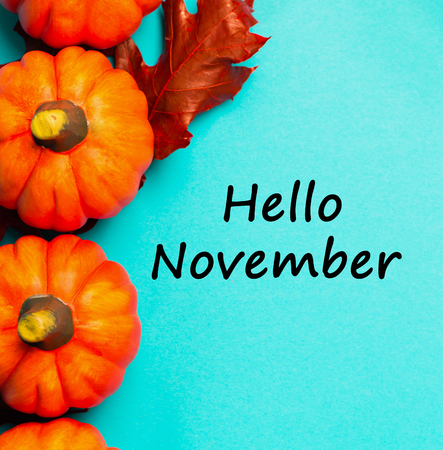 Autumnal background. Orange pumpkins with red dried oak leaves on blue background. View from above. Text hello november.