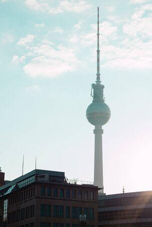 Berlin, Germany - 06.09.18. View of Berlin's tv tower from Fridrich bridge (in German Friedrichsbrucke) located in the area of museum's island.