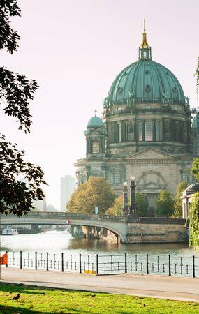Berlin, Germany - 06.09.18. Berlin Cathedral (Berliner Dom) and Fridrich bridge (in German Friedrichsbrucke) located in the area of museum's island.