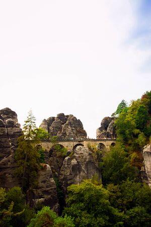 Saxon Switzerland National Park, Germany 04.08.18. Scenic autumn view on the Bastei bridge,