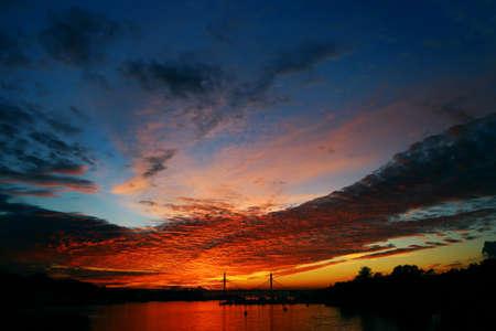 paul: pontoon bridge in St. Petersburg at sunset in autumn Stock Photo