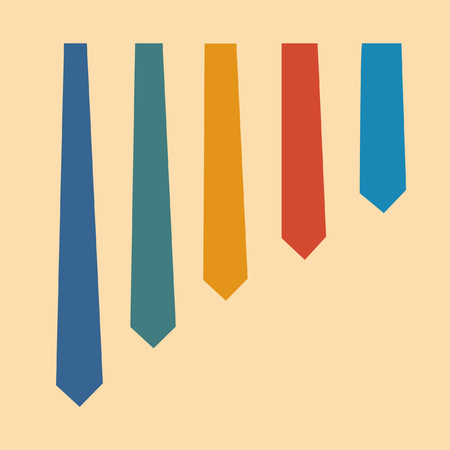 Colored ties collection in flat design 일러스트