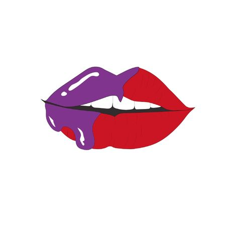 Vector illustration with parted lips. Sexy lips. Dripping with lilac paint lips.