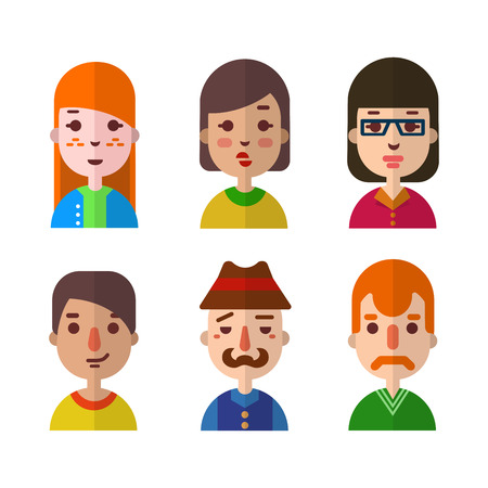 freckles: Vector set flat design icons of various faces. Web site avatar symbols
