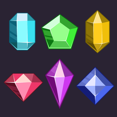 different shapes: Cartoon vector gems and diamonds icons set in different colors with different shapes Illustration