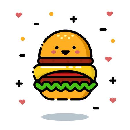 appetizing: Happy and cute cartoon appetizing hamburger Illustration