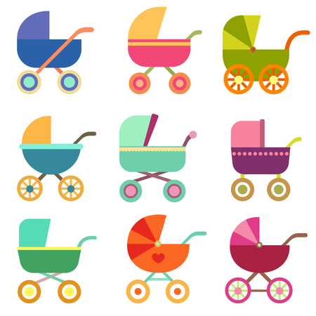 Set baby carriage. Set of illustrations with prams. Flat style illustration Illustration