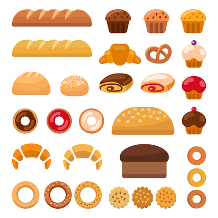 croissants: Set of colorful bakery icons depicting muffins, loaves, of bread, bagel, croissants, and donuts clipart illustration on white. illustration Illustration