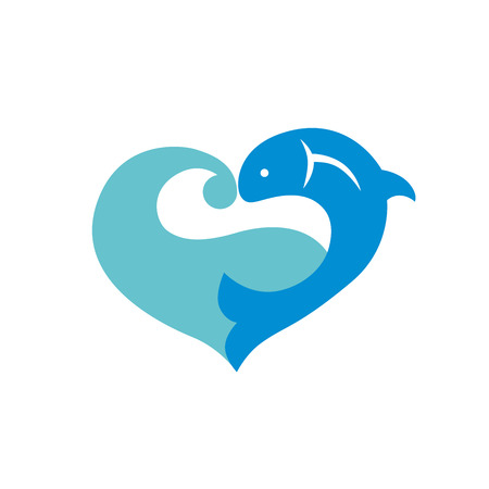 blue fish: Blue icon with fish and wave isolated on white background. Heart icon Illustration