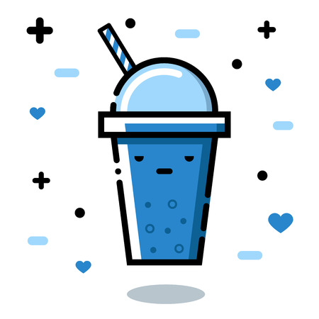 gloomy: Gloomy glass. Cute cartoon fruit smoothies in cups. Natural bio drink, healthy organic food. Icon, illustration Illustration