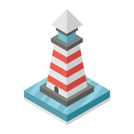 beacon: illustration of isometric square lighthouse. Beacon tower in sea Illustration