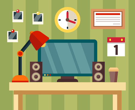 speakers desk: Workplace in flat style with elements table, monitor, clock, photo, speakers, coffee, calendar, lamp, certificate. Office. Vector illustration