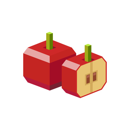 Red apple drawn in isometric view. Cube apple