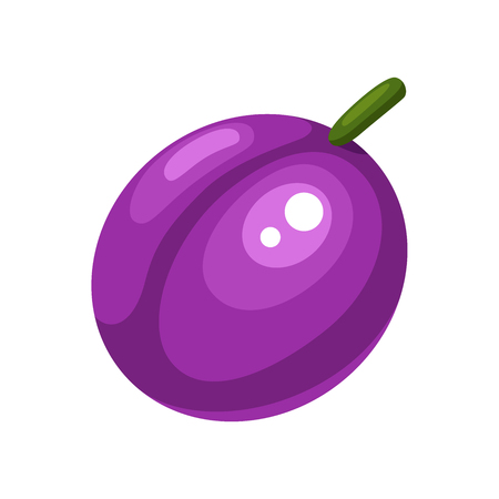 Cartoon plum on a white background. Plum Icon in Color. Vector illustration