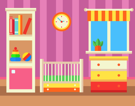 Baby room with furniture. Flat style vector illustration