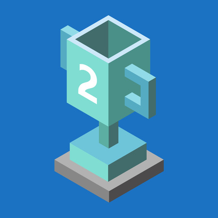 deuce: Silver trophy cup isometric 3d icon. Cup for the second place