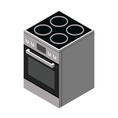 electric stove: Electric stove icon. Vector 3d flat isometric illustration