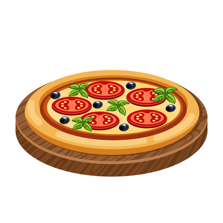 objec: Cartoon pizza on a wooden tray. Cartoon Vector Illustration of Italian Pizza Food Objec. Pizza with tomatoes, cheese, herbs and olives
