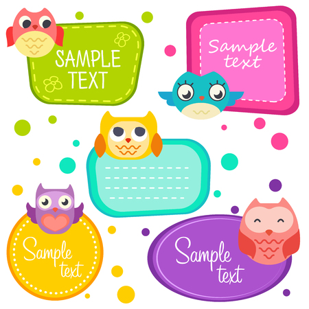 Illustration cute cartoon owls, set frame. Printable labels Set