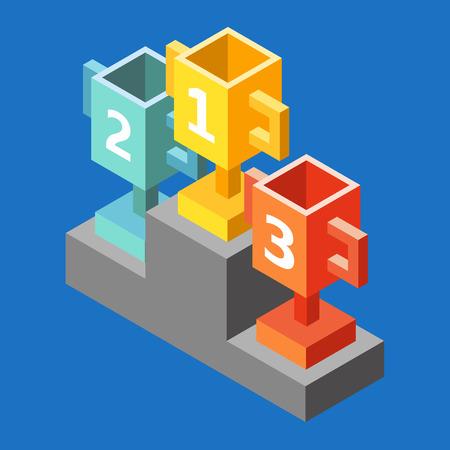 Oro, Plata y Bronce de la Copa en el podio premio. Campeones o ganadores elementos de Infografía. Ilustración del vector. Copas isométrica 3d icono