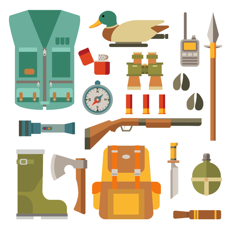 Collection of hunters and tourists. Flat modern design vector icons set isolated on white background. Icon collection in stylish colors