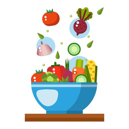 Salad vector illustration. Salad bowl in flat style. Concept fresh, natural, healthy food. Vegetable salad in a plate. Flat icon salad Illustration