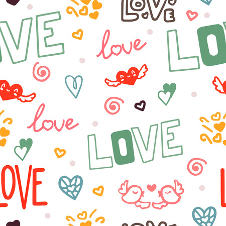 Vector seamless pattern. Doodle romantic seamless pattern with love, hearts and bird. Love background. Love elements in one background in vector