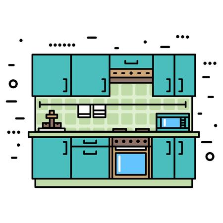 modern kitchen: Fashionable, modern kitchen with furniture. Flat style vector illustration Illustration