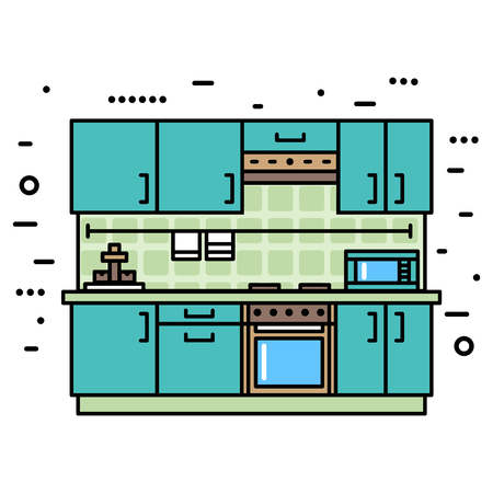 Fashionable, modern kitchen with furniture. Flat style vector illustration Stock Illustratie