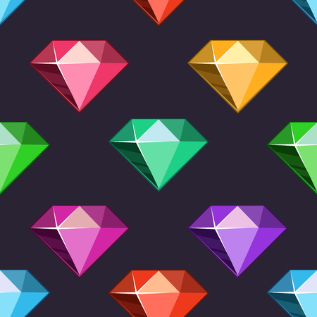 Seamless pattern jewelry. Cartoon vector diamonds set in different colors. Vector illustration