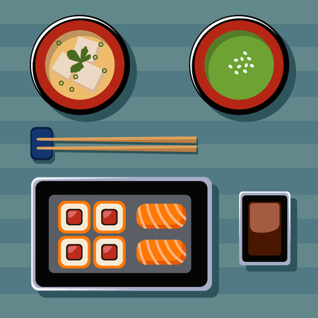 Food Illustration. Japanese food. Vector flat illustrations