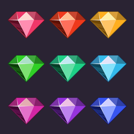 Cartoon vector diamonds icons set in different colors with different shapes