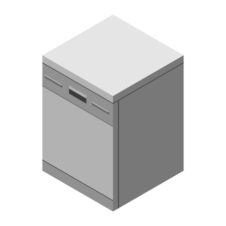 Dishwasher icon. Dishwasher icon web. Vector 3d flat isometric illustration