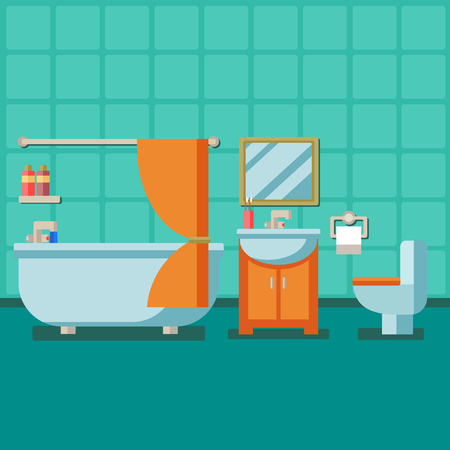 Bathroom with furniture. Flat style vector illustration