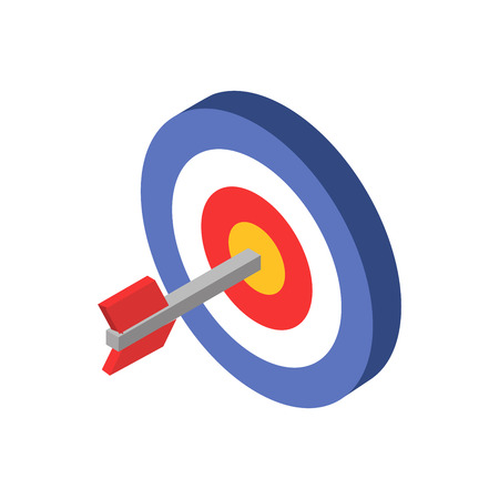 The target with an arrow in the middle. Target icon web. Target marketing icon. Isometric style. Vector illustration