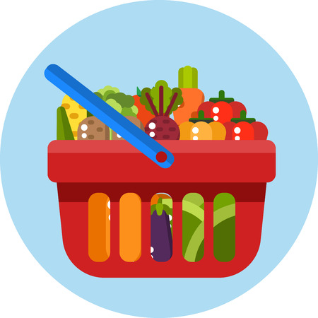 Red shopping basket with vegetables. Shopping basket withvegetables. Vector flat design illustration