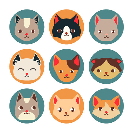 Cat face cartoon flat icon design. Vector flat illustrations. Cat breeds, pattern, card, game graphics