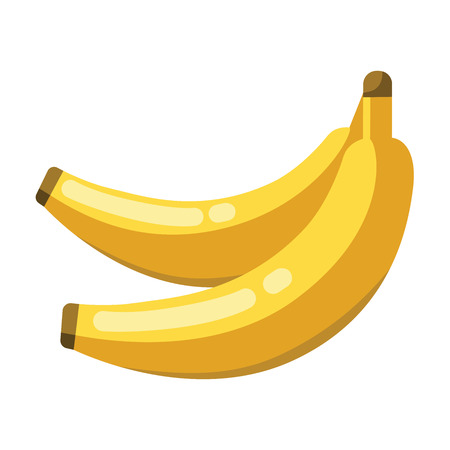 Cartoon bananas yellow on a white background. Bananas Icon in Color. Vector illustration