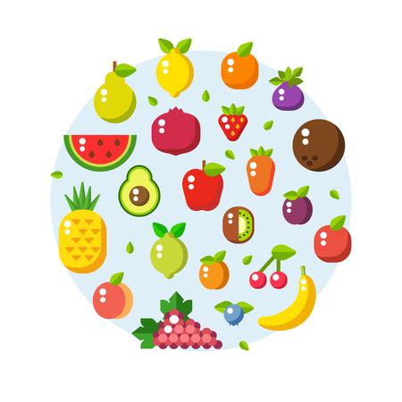 collection de vecteur de fruits frais, sains et fabriqués dans un style plat. mode de vie sain ou le régime alimentaire élément de design