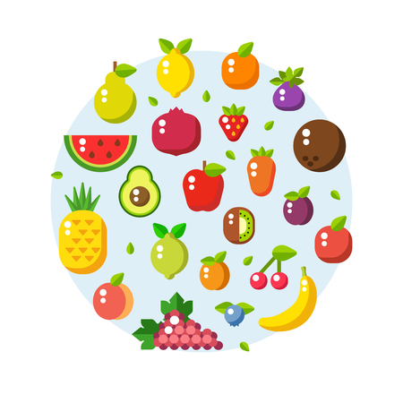 Vector collection of fresh healthy fruits made in flat style. Healthy lifestyle or diet design element