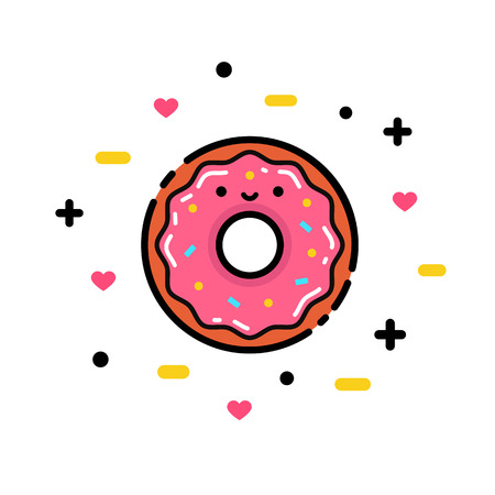 Vector illustration of cute pink cartoon donut with heart and face, can be used for party invitations, posters, prints Stock Illustratie