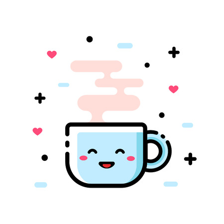 Cute cartoon cup of tea. Funny cartoon vector illustration, icon