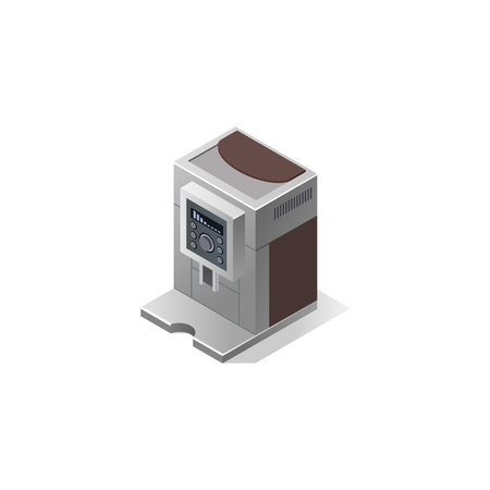 Electric coffee machine with cups. Vector isometric illustration Stock Illustratie