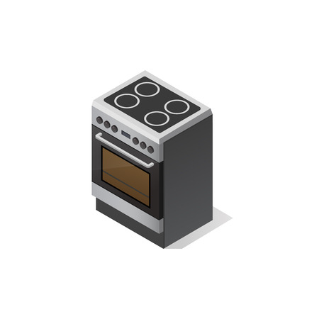 Kitchen electric stove. Vector isometric illustration