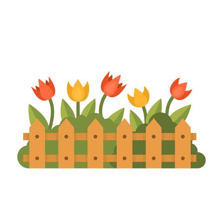 Mooie tuin met verschillende bloemen achter het hek. Groene kruidenplant geïsoleerd op wit. Vlakke stijl vectorillustratie Stockfoto - 75584513