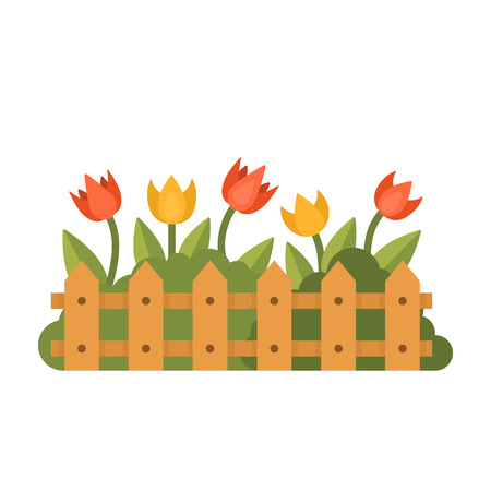 Beautiful garden with different flowers behind the fence. Green herbal plant isolated on white. Flat style vector illustration Illustration
